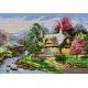 Wzór do haftu - Domek, chata w sadzie (No 5100)