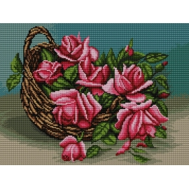 Haft krzyżykowy - do wyboru: kanwa z nadrukiem, nici Ariadna/DMC, wzór graficzny - Róże w koszyku (No 7187)