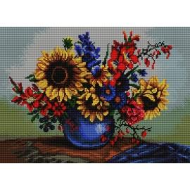 Obrazek do haftu krzyżykowego - kanwa z nadrukiem kolorowym Słoneczniki w wazonie (No 7189)
