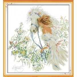 Haft krzyżykowy - Dziewczyna z białym koniem - zestaw do haftu