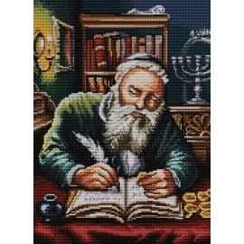 Haft krzyżykowy - wybór: kanwa z nadrukiem, nici Ariadna/DMC, wzór graficzny - Żyd liczący pieniądze Piotr Sobczyk (No 7192) VI
