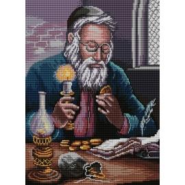 Haft krzyżykowy - do wyboru: kanwa z nadrukiem, nici Ariadna/DMC, wzór graficzny - Żyd liczący pieniądze Piotr Sobczyk (No 7193)