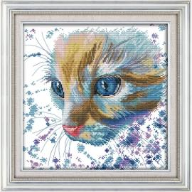 Haft krzyżykowy - Cudny kotek - zestaw do haftu
