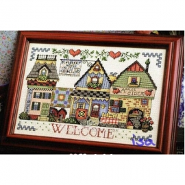 Haft krzyżykowy - Małe miasteczko - zestaw do haftu na gładkiej kanwie