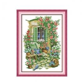 Haft krzyżykowy - Przytulny ogród- zestaw do haftu