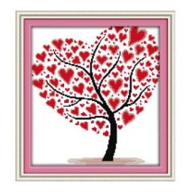 Haft krzyżykowy - Drzewo z sercami - zestaw do haftu