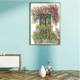 Haft krzyżykowy - Balkon z kwiatami - zestaw do haftu