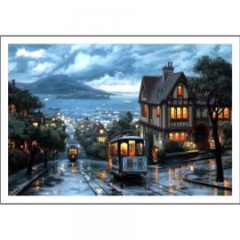 Haft krzyżykowy - Miasteczko w deszczu - zestaw do haftu na gładkiej kanwie