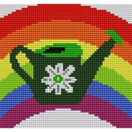 Haft krzyżykowy - do wyboru: kanwa z nadrukiem, nici Ariadna/DMC, wzór graficzny - Tęcza (No 5058)