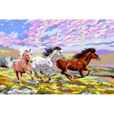 Piękny i duży obrazke do haftowania - Galopujące konie (No 5079)