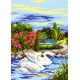 Haft krzyżykowy - do wyboru: kanwa z nadrukiem, nici Ariadna/DMC, wzór graficzny - Pejzaż wiosenny (No 5083)