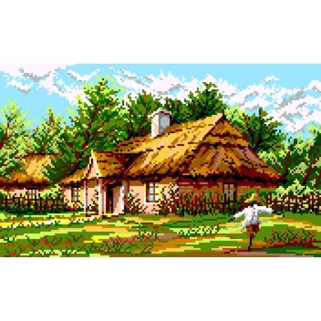 Haft krzyżykowy - do wyboru: kanwa z nadrukiem, nici Ariadna/DMC, wzór graficzny - Wiejska chata (No 367)