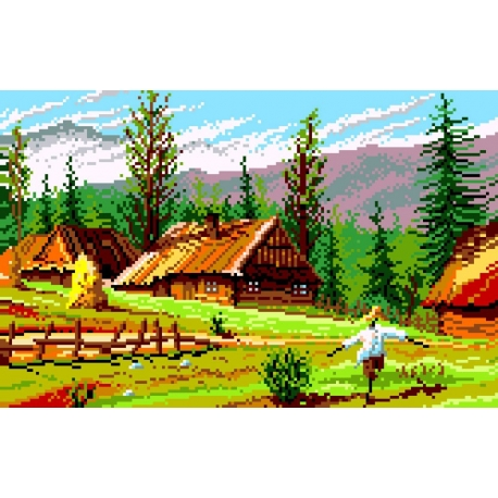 Haft krzyżykowy - do wyboru: kanwa z nadrukiem, nici Ariadna/DMC, wzór graficzny - Krajobraz górski (No 393)