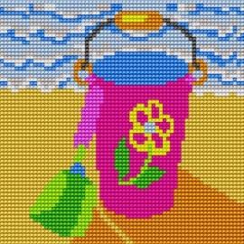 Haft krzyżykowy - do wyboru: kanwa z nadrukiem, nici Ariadna/DMC, wzór graficzny - Wiaderko na plaży (No 5057)