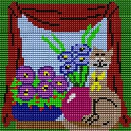Kanwa do haftu krzyżykowego dla dzieci - Kotek w oknie (No 5056)