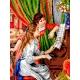 Haft krzyżykowy - do wyboru: kanwa z nadrukiem, nici Ariadna/DMC, wzór graficzny - Dziewczęta przy pianinie P.A. Renoir (No 568)
