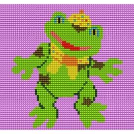 Haft krzyżykowy - do wyboru: kanwa z nadrukiem, nici Ariadna/DMC, wzór graficzny - Wesoła żabka (No 5053)