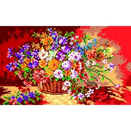 Haft krzyżykowy - do wyboru: kanwa z nadrukiem, nici Ariadna/DMC, wzór graficzny - Kwiaty w koszyku (No 330)