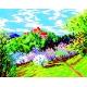 Haft krzyżykowy - do wyboru: kanwa z nadrukiem, nici Ariadna/DMC, wzór graficzny - Krajobraz wiosenny - zamek (No 325)