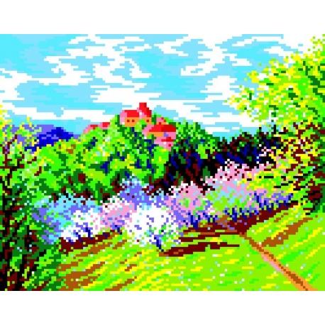 Krajobraz wiosenny - zamek (No 325)