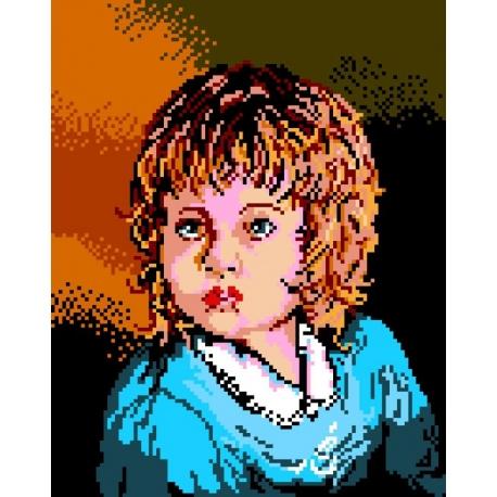 Haft krzyżykowy - do wyboru: kanwa z nadrukiem, nici Ariadna/DMC, wzór graficzny - Dziewczynka (No 327)