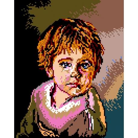 Haft krzyżykowy - do wyboru: kanwa z nadrukiem, nici Ariadna/DMC, wzór graficzny - Chłopiec (No 328)