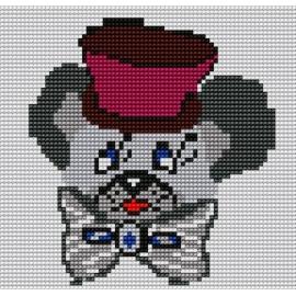 Kanwa z nadrukiem kolorowym dla dzieci - Pies w kapeluszu (No 56)