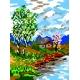Haft krzyżykowy - do wyboru: kanwa z nadrukiem, nici Ariadna/DMC, wzór graficzny - Pejzaż wiosenny (No 355)