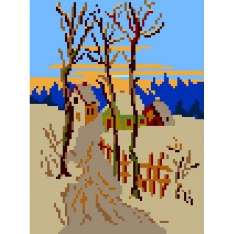 Haft krzyżykowy - do wyboru: kanwa z nadrukiem, nici Ariadna/DMC, wzór graficzny - Zimowa droga (No 356)