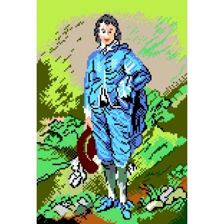 Haft krzyżykowy - do wyboru: kanwa z nadrukiem, nici Ariadna/DMC, wzór graficzny - Niebieski chłopiec T. Lawrence (No 365)