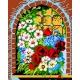 Haft krzyżykowy - do wyboru: kanwa z nadrukiem, nici Ariadna/DMC, wzór graficzny - Kwiaty w oknie (No 374)