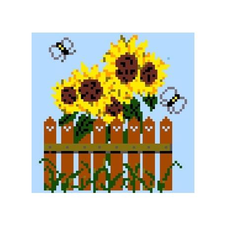 Haft krzyżykowy - do wyboru: kanwa z nadrukiem, nici Ariadna/DMC, wzór graficzny - Słoneczniki (No 5052)