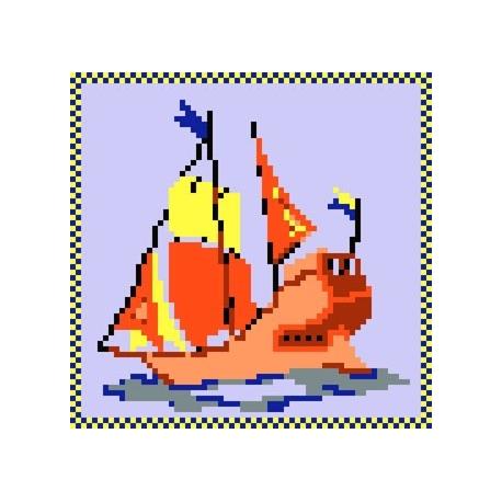 Haft krzyżykowy - do wyboru: kanwa z nadrukiem, nici Ariadna/DMC, wzór graficzny - Statek (No 5031)