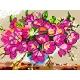 Haft krzyżykowy - do wyboru: kanwa z nadrukiem, nici Ariadna/DMC, wzór graficzny - Kwiatki w wazonie (No 5027)