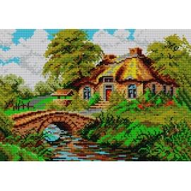 Sklep z kanwami z nadrukiem -Krajobraz z chatą (No 547)