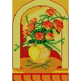 Haft krzyżykowy - do wyboru: kanwa z nadrukiem, nici Ariadna/DMC, wzór graficzny - Róże w oknie (No 545)
