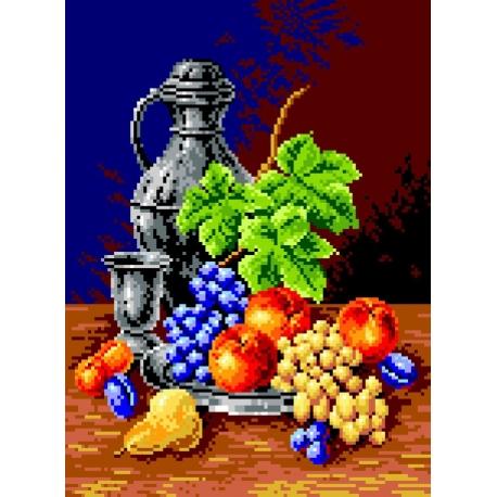 Haft krzyżykowy - do wyboru: kanwa z nadrukiem, nici Ariadna/DMC, wzór graficzny - Martwa natura - kielich i owoce (No 563)
