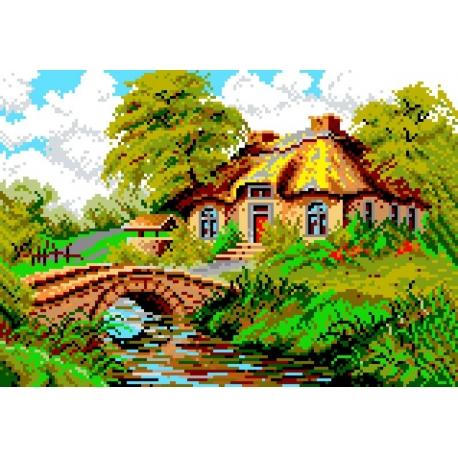 Haft krzyżykowy - do wyboru: kanwa z nadrukiem, nici Ariadna/DMC, wzór graficzny - Krajobraz z chatą (No 547)