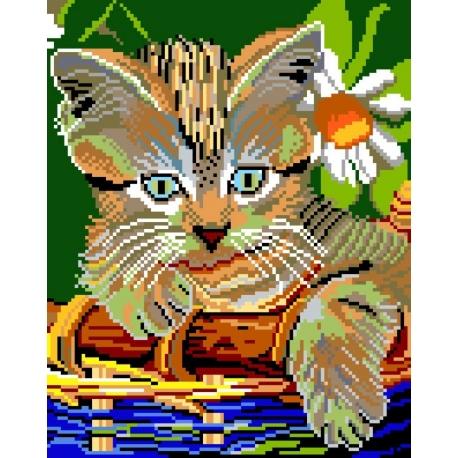 Haft krzyżykowy - do wyboru: kanwa z nadrukiem, nici Ariadna/DMC, wzór graficzny - Kot w koszyku (No 522)