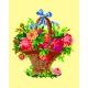 Haft krzyżykowy - do wyboru: kanwa z nadrukiem, nici Ariadna/DMC, wzór graficzny - Kwiaty w koszyku (No 527)