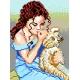Haft krzyżykowy - do wyboru: kanwa z nadrukiem, nici Ariadna/DMC, wzór graficzny - Dziewczyna z misiem (No 536)