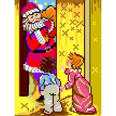 Haft krzyżykowy - do wyboru: kanwa z nadrukiem, nici Ariadna/DMC, wzór graficzny - Święty Mikołaj i dzieci (No 509)
