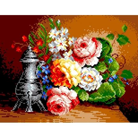 Haft krzyżykowy - do wyboru: kanwa z nadrukiem, nici Ariadna/DMC, wzór graficzny - Martwa natura - bukiet kwiatów (No 571)