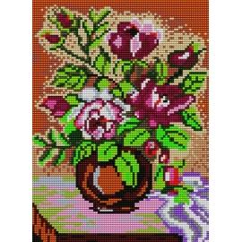 Haft krzyżykowy - do wyboru: kanwa z nadrukiem, nici Ariadna/DMC, wzór graficzny - Róże w wazonie (No 529)