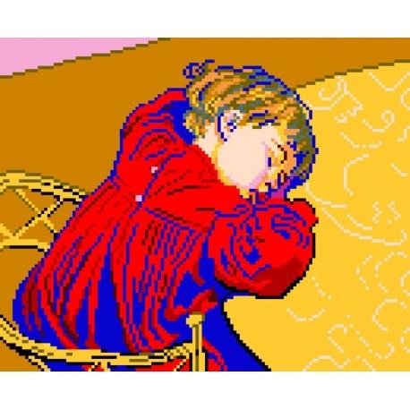 Haft krzyżykowy - do wyboru: kanwa z nadrukiem, nici Ariadna/DMC, wzór graficzny - Śpiący Staś Stanisława Wyspiański (No 385)