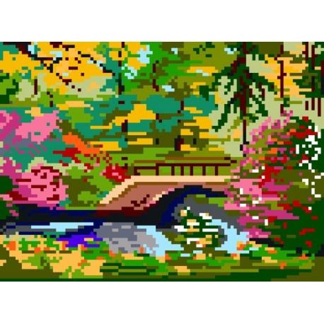 Haft krzyżykowy - do wyboru: kanwa z nadrukiem, nici Ariadna/DMC, wzór graficzny - Mostek w parku (No 310)