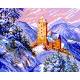 Haft krzyżykowy - do wyboru: kanwa z nadrukiem, nici Ariadna/DMC, wzór graficzny - Krajobraz zimowy - zamek (No 384)