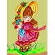 Haft krzyżykowy - do wyboru: kanwa z nadrukiem, nici Ariadna/DMC, wzór graficzny - Dziewczynka z lalką (No 513)