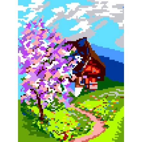 Haft krzyżykowy - do wyboru: kanwa z nadrukiem, nici Ariadna/DMC, wzór graficzny - Pejzaż wiosenny (No 134)