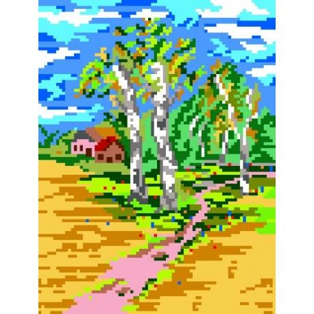 Haft krzyżykowy - do wyboru: kanwa z nadrukiem, nici Ariadna/DMC, wzór graficzny - Pejzaż letni (No 135)